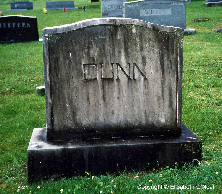 Front View: Headstone of John & Sarah Dunn