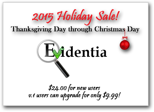 Evidentia Holiday Sale 2015