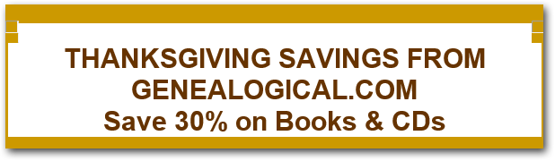 Genealogical.com Thanksgiving Sale