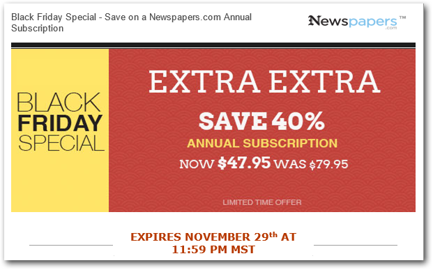 Newspapers.com Black Friday Sale