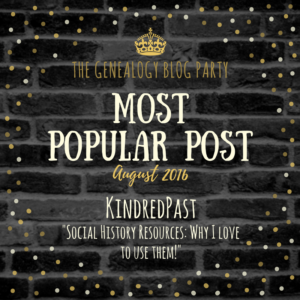 Genealogy Blog Party August 2016 Most Popular Post