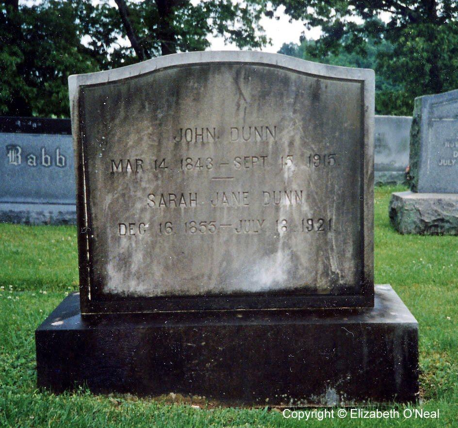 Headstone of John & Sarah Dunn
