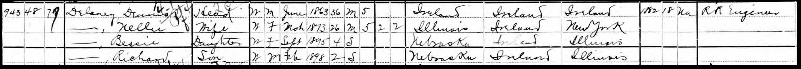 1900 US Census Dennis& Nellie Delaney