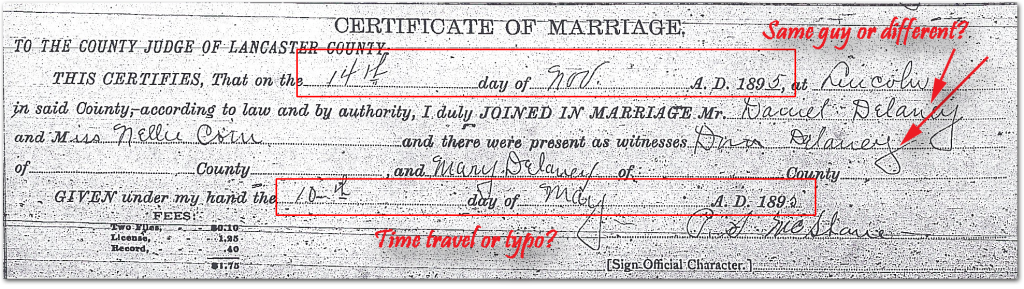Marriage Certificate of Dennis & Nellie Delaney