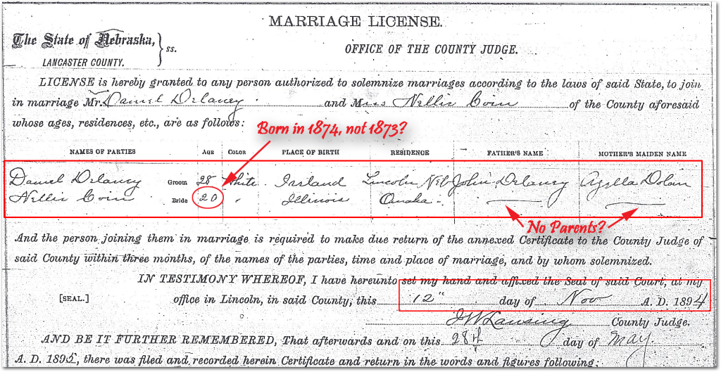 Marriage License Dennis of Delaney & Nellie Coin