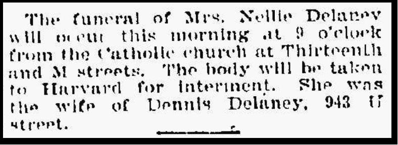 Funeral notice of Nellie (Coyne) Delaney, 1901