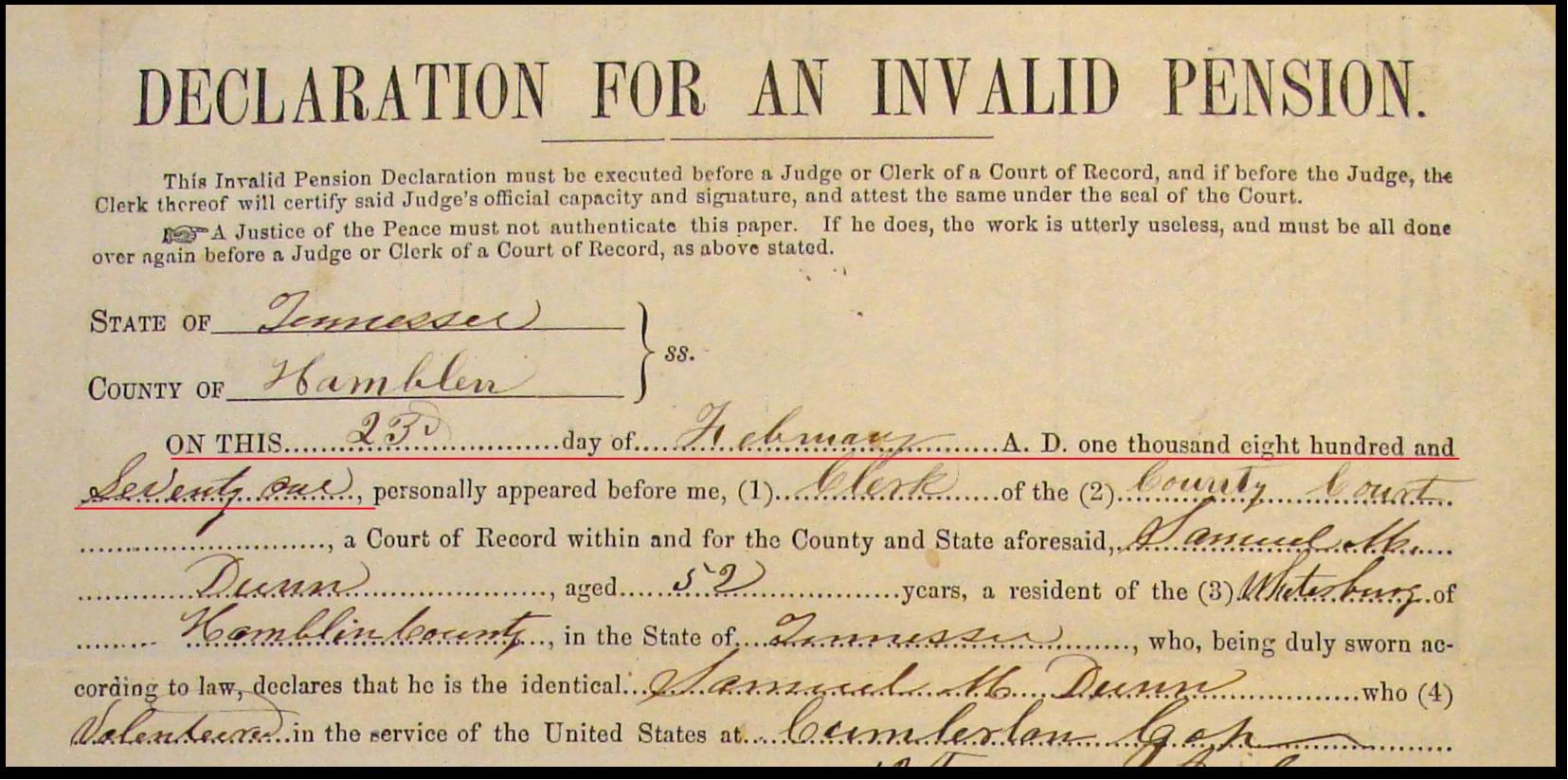 Samuel M Dunn Pension Declaration 1871