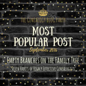 Genealogy Blog Party - September 2016 Top Vote Getter